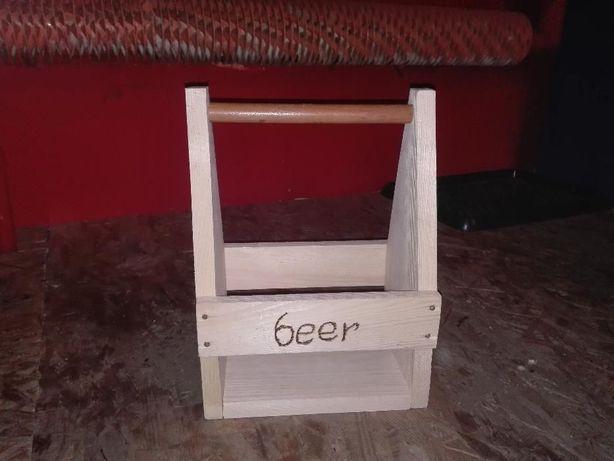 Drewniana skrzynka na 6 butelek piwa