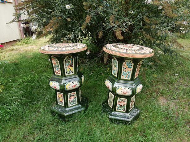 Stolik na taras, do ogrodu,postument, ceramika, porcelana PRL vintage