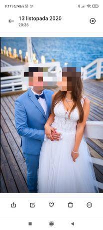 Garnitur ślub wesele XL niebieski błękitny KUBENZ
