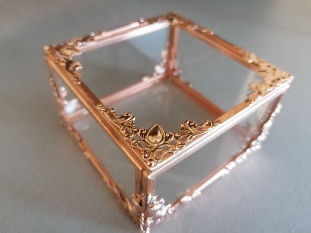 Pudełko szklane, różowe złoto, rosegold, miedziane,szkatułka,organizer