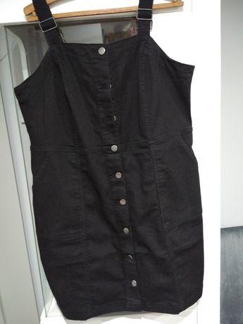Sukienka jeansowa czarna guziki rozpinana