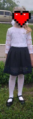 Продам юбку и белую блузку на рост 122-128