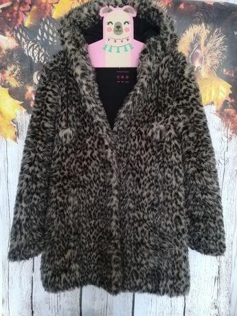 Ciepłe futerko jesień zima panterka S klasypa kaptur bąbelki płaszcz