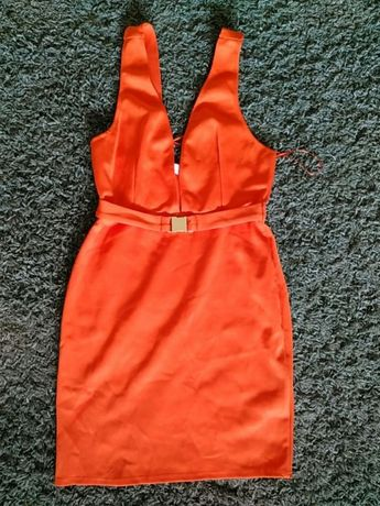 Pomarańczowa sukienka OH MY LOVE LONDON z paskiem orange rozmiar M