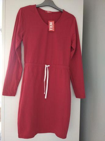 Sukienka czerwona TXM S 36 na co dzień dresowa dzianinowa NOWA