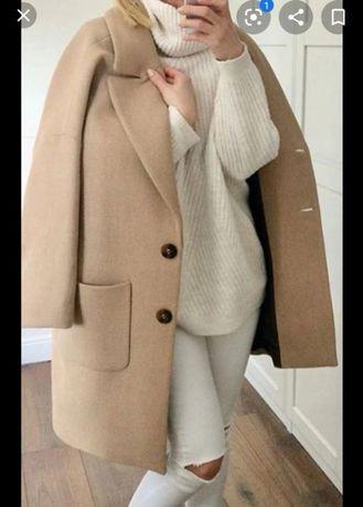 Zara płaszcz wełna oversize s 36 beżowy