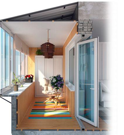 Балконы под ключ, Окна + откосы. Ролеты