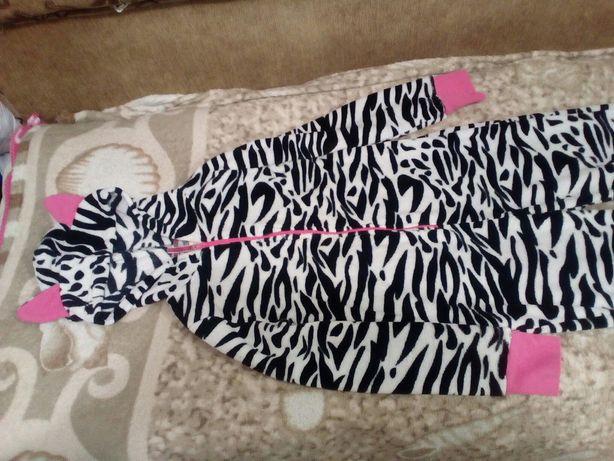 Кегуруми, пижама на флисе ЗЕБРА на 13-14 лет 158-164см размер M