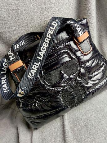 Torebka czarna pikowana Karl z ludkiem logowana Premium