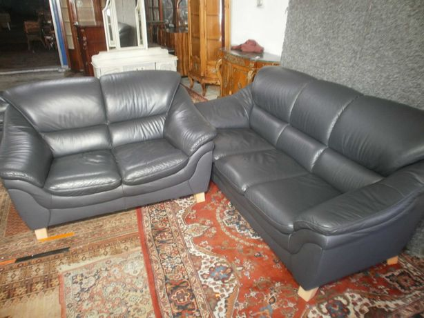Sofa z Granatowej Skóry 3+2 z Niemiec