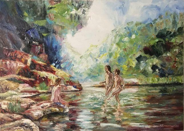 """Картина маслом """"Купание в лесу"""",художник Обертас Ю.А."""