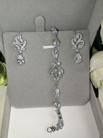 Nowy komplet biżuterii ślubnej okazjonalnej wieczorowej