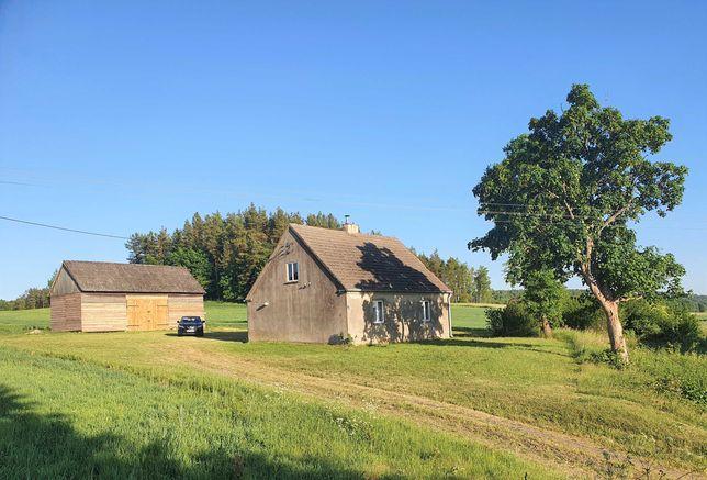 Działka z domem, polem i lasem. Siedlisko na Kaszubach