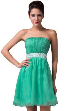 Vestido verde cai-cai de cerimónia