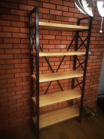 Regał industrialny loft stal drewno