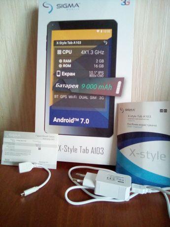 "Отличный Планшет Sigma X--Style ТАБ A 103; 10,1"", 16GB\2GB, 9000mah ,"