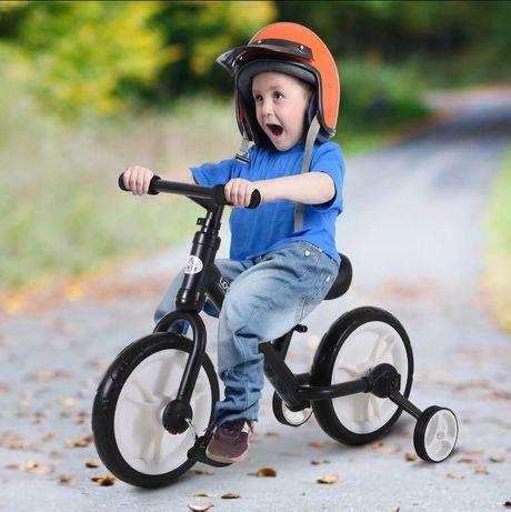 Rowerek biegowy dla dzieci kółka podporowe pedały 2w1, 2-5 lat czarny