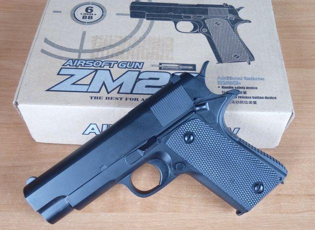 Детский железный страйкбольный пистолет на пульках ZM 22 Colt 1911