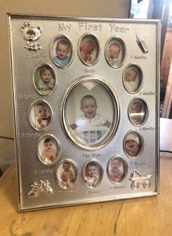 Фоторамка/рамка детская для фото «Мой первый год» 12+1
