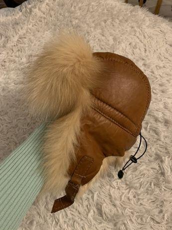 Натуральный мех кожа детская шапка-ушанка