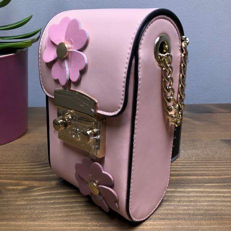 Сумка женская кожаная сумочка женская cross body цвет розовый.
