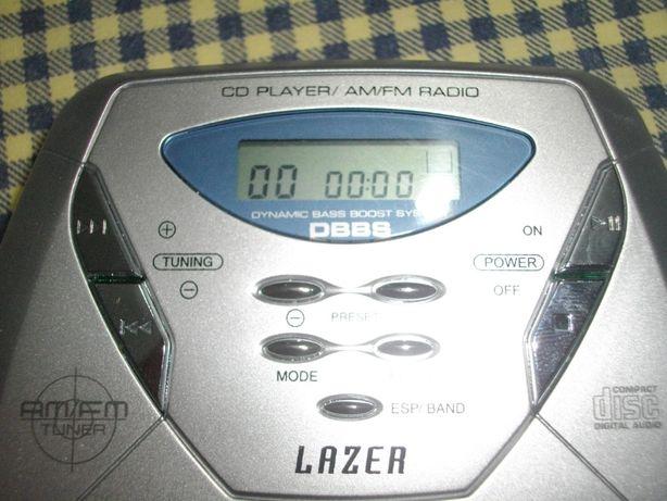 Leitor de CD portátil com radio FM, antichoque: 45 seg.
