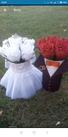 Жених и невеста - свадебный декор или букет