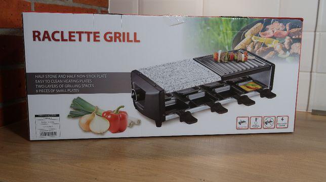 Elegancki grill raclette 1200V aluminium/kamień, na 8 osób