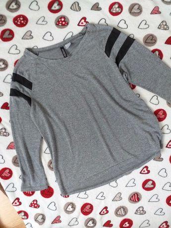 Szara melanżowa bluzka z rękawem 3/4 i siateczką H&M