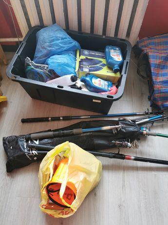 Ящик рыболова удочки, ласти эхолот