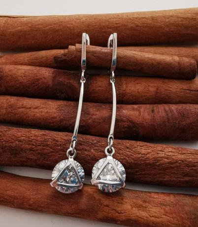 Серебряные серьги Камень на палочке.Родий.