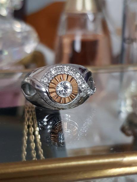 Pierścionek CERRUTI 1881 duży stal kryształ r.16