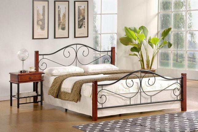 Metalowo drewniane łózko VIOLETTA 120- nowość - atrakcyjna stylistyka
