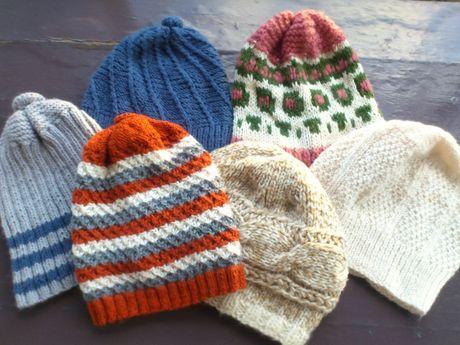 Ręcznie robiona czapka 100% Wełna (6szt) Rękodzieło