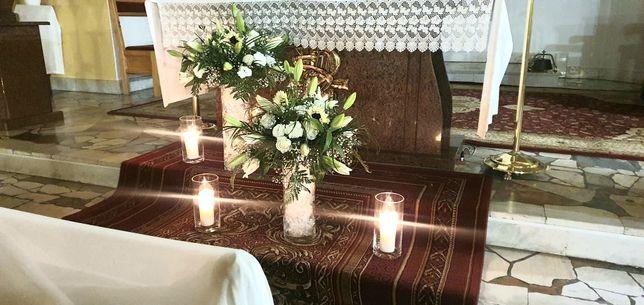 Oprawa florystyczna,dekoracja Kościoła, sali,auto do ślubu