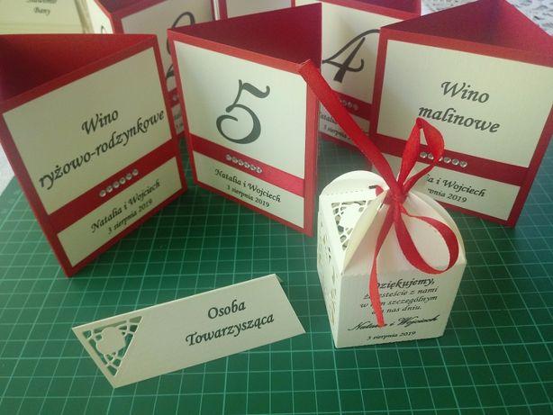 Pudełko, podziękowanie dla gości, zaproszenia ślubne
