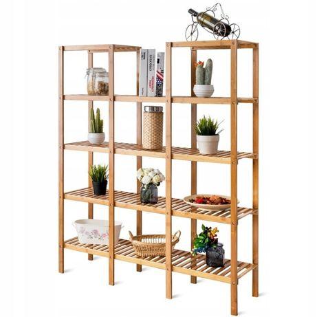 Regał bambusowy na rośliny 5-poziomawy
