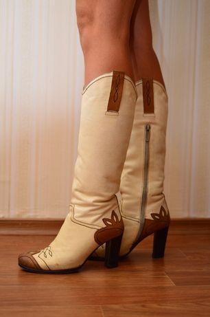 Сапоги зимние женские ковбойские натуральная кожа размер 38 39