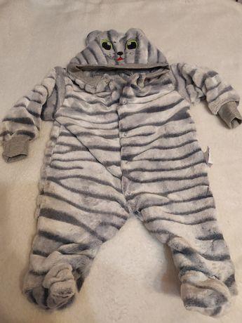 Комбинезон человечек махровый теплый для младенца Котик