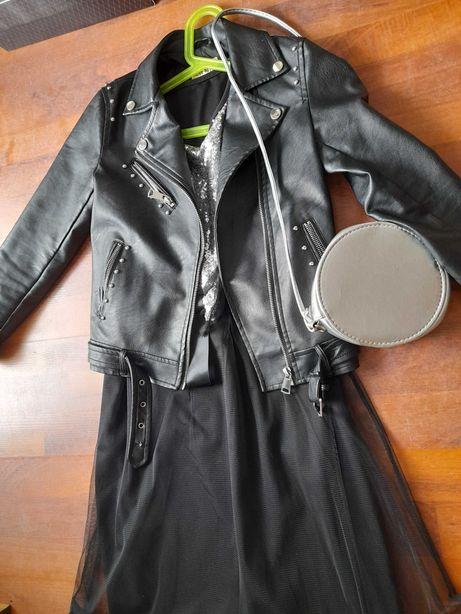 Sukienka wizytowa z cekinami+ramoneska (skórzana kurtka) - rozmiar 140