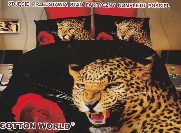 SUPER pościel dziecięca 3D 160X200  Tygrys Pantera Lew + prześcieradło