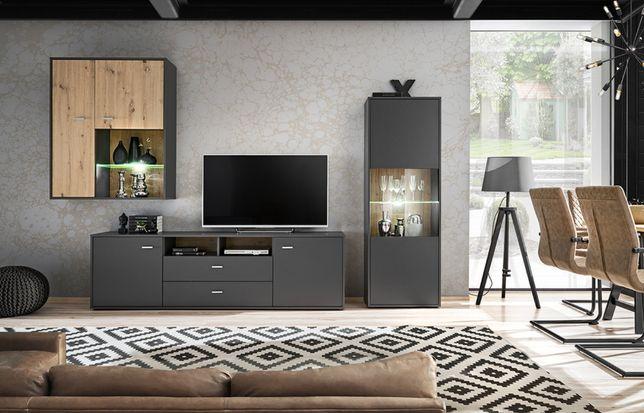 Meblościanka nowy zestaw mebli pokojowych do salonu z oświetleniem LED