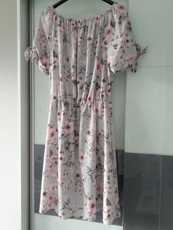 Nowa sukienka szara w kwiaty zwiewna rozm. S/M