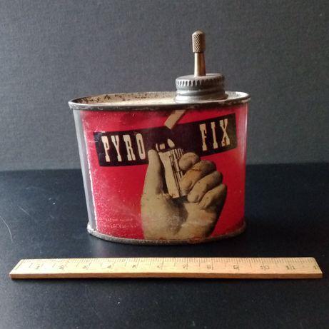 """""""Pyro Fix"""", lata de gasolina para isqueiros, vintage"""