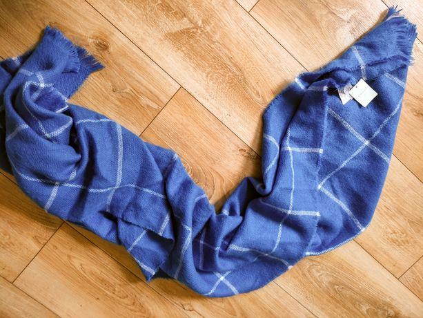 Nowy gruby szal niebieski Primark szeroki krata modny