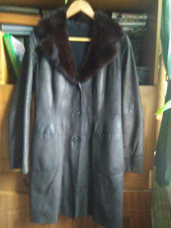 Кожаное пальто с мехом норки Upstar Сontinental(Австрия) 44 размер