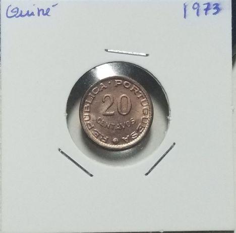 Moeda 20 centavos 1973 Guiné bela