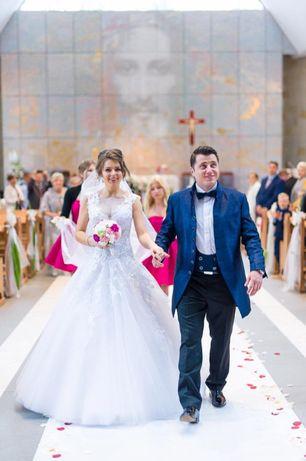 Zjawiskowa suknia ślubna, Agora, 168cm+ 7cm obcas