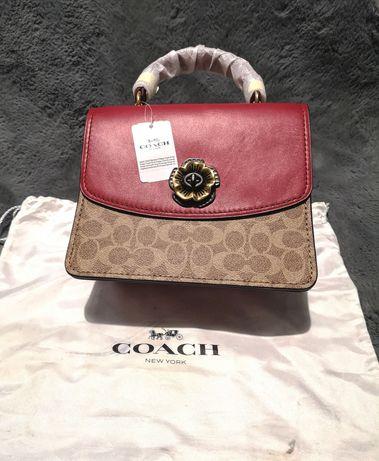 Nowa z metką oryginalna skórzana włoska torba torebka Coach czerwona