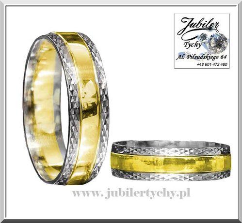 Złote obrączki z białym złotem Wyprzedaż złoto Au 585 Jubiler Tychy